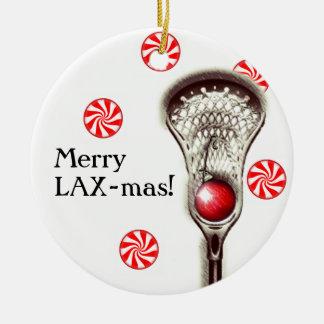 Ornement Rond En Céramique Noël de lacrosse collectable