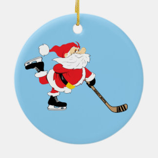 Ornement Rond En Céramique Noël de patinage de Père Noël d'hockey
