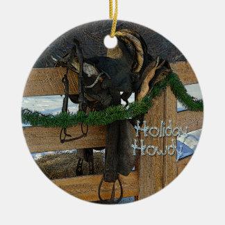 Ornement Rond En Céramique Noël de pays de ranch de vacances allo