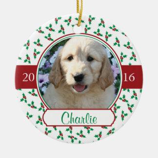 Ornement Rond En Céramique Noël de photo d'animal familier avec le houx et