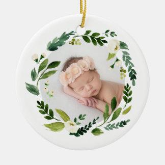 Ornement Rond En Céramique Noël de photo de bébé de guirlande d'albâtre