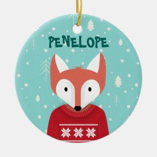 Ornement Rond En Céramique Noël de région boisée
