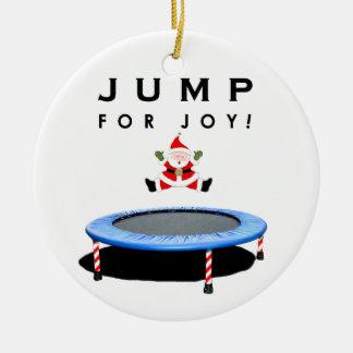 Ornement Rond En Céramique Noël de trempoline collectable