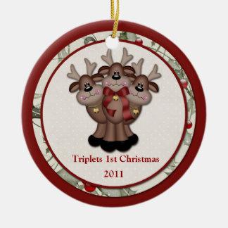 Ornement Rond En Céramique Noël de triplets de renne ęr