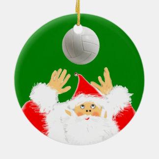 Ornement Rond En Céramique Noël de volleyball collectable