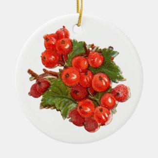 Ornement Rond En Céramique Noël démodé, groseille rouge