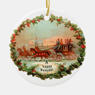 Ornement Rond En Céramique Noël démodé, nouvelle année, car