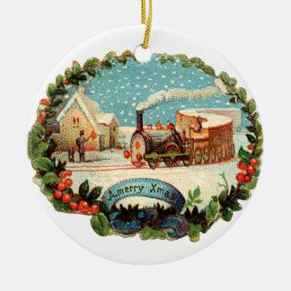 Ornement Rond En Céramique Noël démodé, train de vapeur