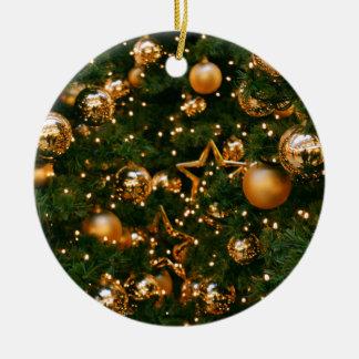 Ornement Rond En Céramique Noël d'or
