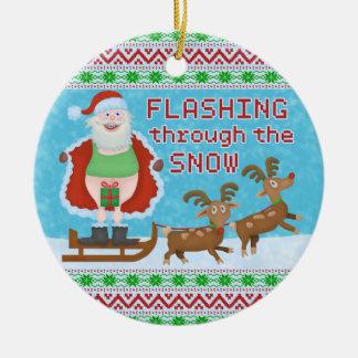 Ornement Rond En Céramique Noël drôle | le père noël clignotant par la neige