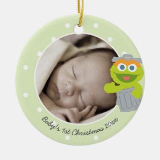 Ornement Rond En Céramique Noël du bébé de l'oscar | le premier - ajoutez