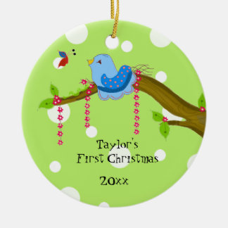 Ornement Rond En Céramique Noël du bébé de point de polka premier