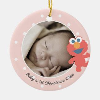 Ornement Rond En Céramique Noël du bébé d'Elmo | le premier - ajoutez votre