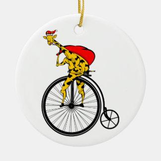 Ornement Rond En Céramique Noël du père noël de girafe