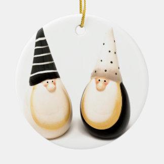 Ornement Rond En Céramique Noël en céramique de lutin figure la décoration