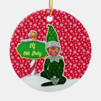 Ornement Rond En Céramique Noël en service des elfes de FD ornemente 53086A