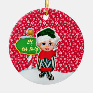 Ornement Rond En Céramique Noël en service des elfes de FD ornemente 53086A1