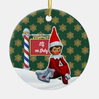 Ornement Rond En Céramique Noël en service des elfes de FD ornemente 53086B