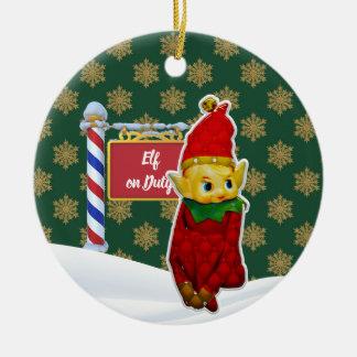 Ornement Rond En Céramique Noël en service des elfes de FD ornemente 53086B1