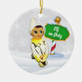 Ornement Rond En Céramique Noël en service des elfes de FD ornemente 53086C