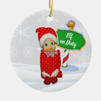 Ornement Rond En Céramique Noël en service des elfes de FD ornemente 53086C1