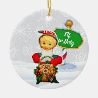 Ornement Rond En Céramique Noël en service des elfes de FD ornemente 53086C3