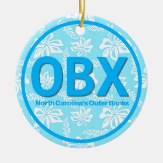 Ornement Rond En Céramique Noël externe personnalisé de bleu des banques OR
