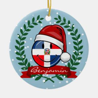 Ornement Rond En Céramique Noël gai de drapeau de la République Dominicaine