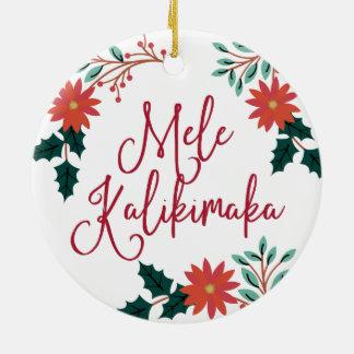 Ornement Rond En Céramique Noël hawaïen de Mele Kalikimaka |