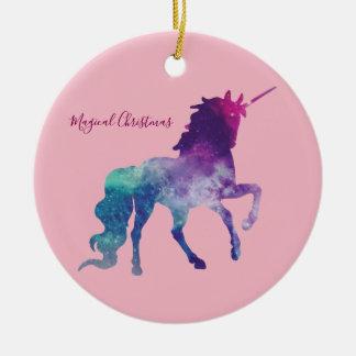 Ornement Rond En Céramique Noël magique de licorne