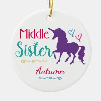Ornement Rond En Céramique Noël moyen de soeur de licorne colorée de soeurs