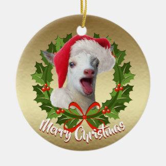 Ornement Rond En Céramique Noël nain nigérien de casquette de Père Noël