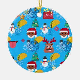 Ornement Rond En Céramique Noël noir de taco de père Noël