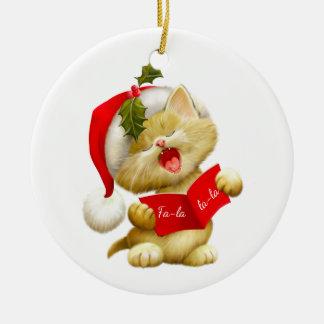 Ornement Rond En Céramique Noël Ornement-Père Noël Kitty