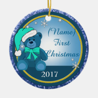 Ornement Rond En Céramique Noël personnalisé bleu d'ours de nounours de bébé