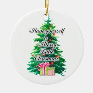 Ornement Rond En Céramique Noël personnalisé d'arbre de Noël Joyeux petit