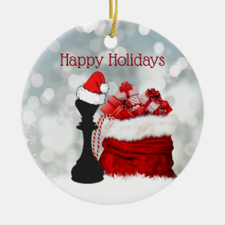 Ornement Rond En Céramique Noël personnalisé de Père Noël de neige d'hiver