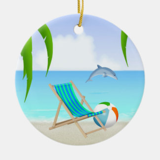 Ornement Rond En Céramique Noël personnalisé de vacances de dauphin
