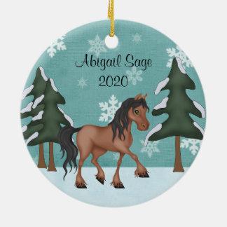 Ornement Rond En Céramique Noël personnalisé de vacances de Milou de cheval