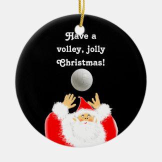 Ornement Rond En Céramique Noël personnalisé de volleyball