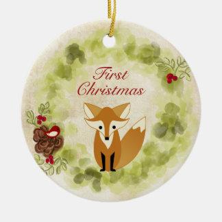 Ornement Rond En Céramique Noël personnalisé du bébé de Fox et de guirlande