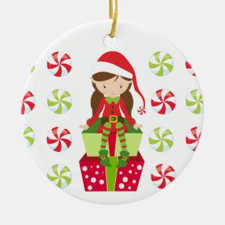 Ornement Rond En Céramique Noël personnalisé Elf de sucrerie