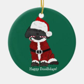 Ornement Rond En Céramique Noël personnalisé Labradoodle le père noël
