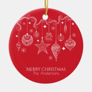 Ornement Rond En Céramique Noël personnalisé ornemente l'ornement de |