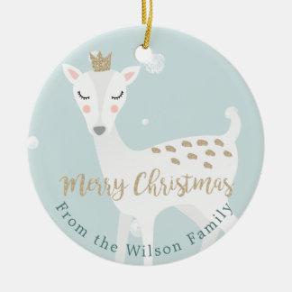 Ornement Rond En Céramique Noël personnalisé par | doux mignon de bleu des