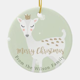 Ornement Rond En Céramique Noël personnalisé par | mignon de vert sauge des