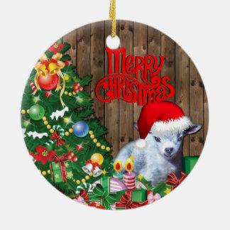 Ornement Rond En Céramique Noël pygméen adorable de bébé de chèvre de CHÈVRE