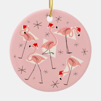 Ornement Rond En Céramique Noël rose de Santa de flamant Joyeux rond
