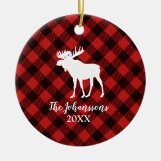 Ornement Rond En Céramique Noël rouge et noir d'orignaux et de Buffalo de