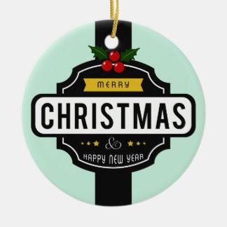 Ornement Rond En Céramique Noël souhaite l'ornement